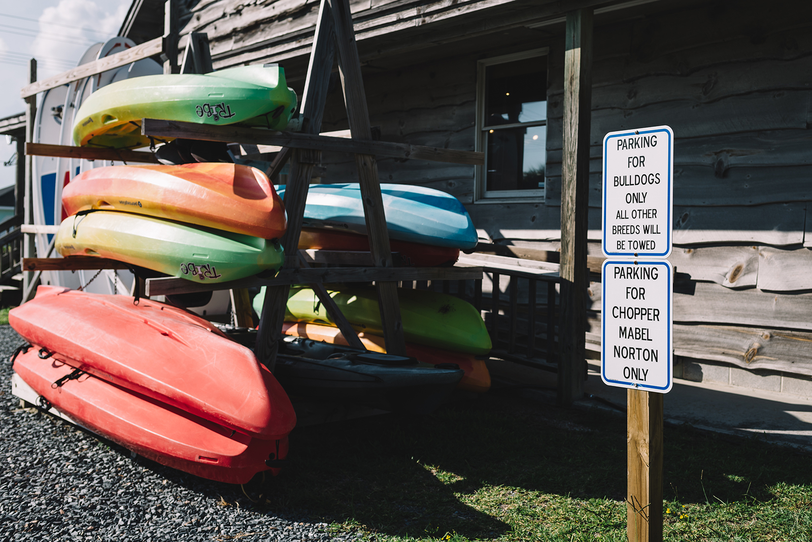 Our kayak stack. They're available to rent!